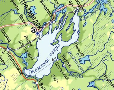 Где находится онежское озеро на карте